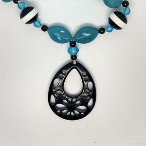 Teal and Black Neckace